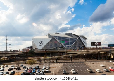 February 21, 2018. Mercedes-Benz Stadium in Atlanta. The Mercedes-Benz Stadium is a multi-purpose retractable roof stadium located in Atlanta, Georgia, USA.