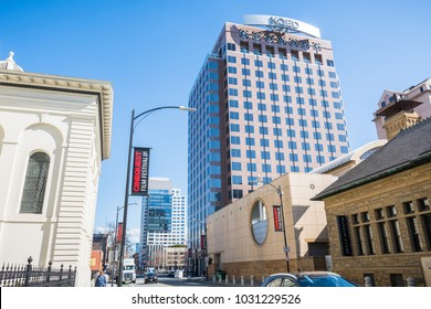 February 21, 2018 San Jose / CA / USA - Street in downtown San Jose on a sunny day, Silicon Valley