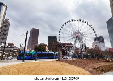 February 21, 2018. SkyView Ferris Wheel in Centennial Park. Atlanta, Georgia, USA.