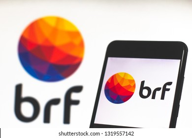 "February 21, 2019, Brazil. Mobile device shows the logo of the world's largest ""BRF"" food company. The company is the result of the merger of Sadia and Perdigão, the main food companies in Brazil."