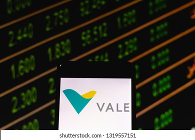 "February 21, 2019, Brazil. Mobile device shows Brazilian mining company logo ""Vale do Rio Doce"". Vale is the largest producer of iron ore, pellets and nickel."