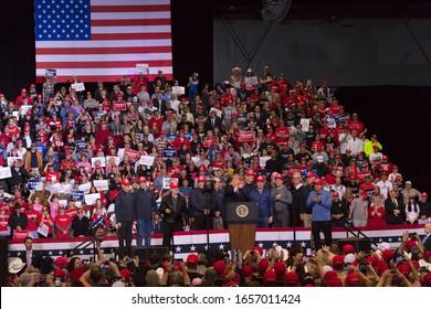 FEBRUARY 21, 2020,, LAS VEGAS CONVENTION CEWNTER, LAS VEGAS, NEVADA USA - President Trump speaks at KEEP AMERICA GREAT Re-election Rally in Las Vegas Convention Center-1980's Hockey team, Olympics