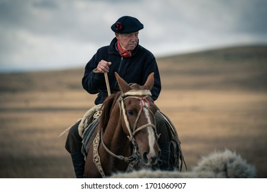 February 21, Punta Arenas. Chile: a Gaucho from the Magellan province of Patagonian Chilean in south of Chile. Here an old man leading his sheep herd around his farm riding a horse in the countryside.