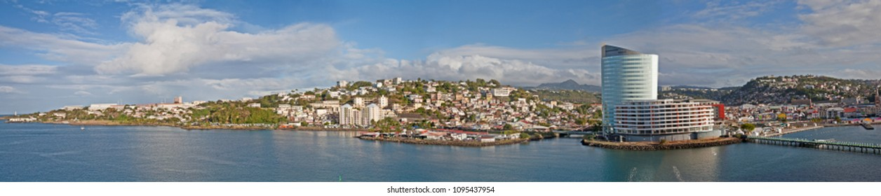 February 22, 2015- Martinique, Fort de France: View of the waterfront along the city of Fort de France with the Simon Hotel, businesses and ocean