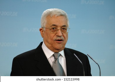 FEBRUARY 23, 2007 - BERLIN:  the President of the Palestinian National Authority Mahmud Abbas (Fathah) speaks during a meeting with the German Chancellor in the German Chanclery, Berlin.