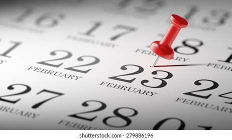 February 23 written on a calendar to remind you an important appointment.