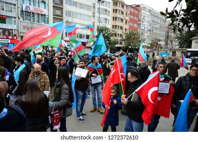 FEBRUARY 23,2014 ISTANBUL TURKEY.The protesters are in Taksim Square protesting Khojaly tragedy which happened against to Turks in Azerbaijan by Armenians.