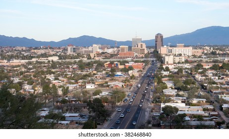 February 23,2016 Tuscon AZ a view Downtown Tuscon against the Catalina mountains