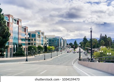 February 24, 2018 Sunnyvale / CA / USA - One of the main streets in downtown Sunnyvale on a cloudy day, San Francisco bay area