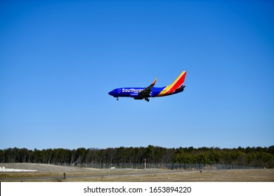FEBRUARY 24, 2020 - BALTIMORE, USA: Southwest Airline commercial flight landing at the Baltimore Washington International airport.