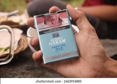 """February 24, 2020, Sleman, Indonesia: PT Gudang Garam Tbk (Indonesian for """"salt warehouse"""") is an Indonesian cigarette company, best known for its kretek (clove cigarette) products."""
