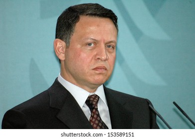 FEBRUARY 25, 2005 - BERLIN: King of Jordan, Abdullah II of Jordan (Abdallah II Bin Al-Hussein) at a press conference after a meeting with the German Chancellor in the Chanclery in Berlin.