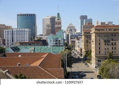 February 25, 2016 - Oakland, CA, USA: The downtown Oakland urban skyline on a sunny February day.