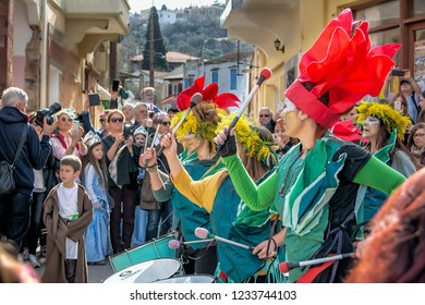 February 25, 2017, Chios Island, Thymiana Village Colorful view of the Mostra Carnival