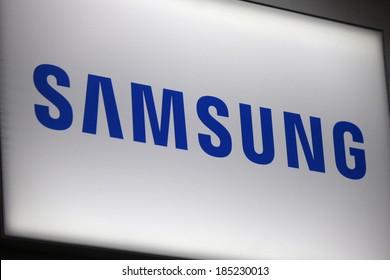 "FEBRUARY 26, 2014 - BERLIN: the logo of the brand ""Samsung"", Berlin."
