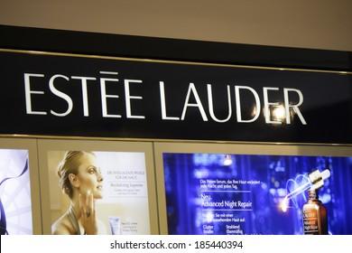 "FEBRUARY 26, 2014 - BERLIN: the logo of the brand ""Estee Lauder"", Berlin."