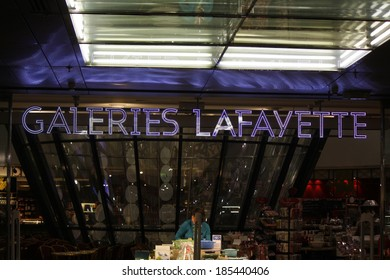 "FEBRUARY 26, 2014 - BERLIN: the logo of the brand ""Galeries Lafayette"", Berlin."
