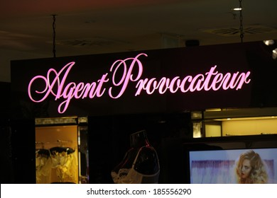 """FEBRUARY 26, 2014 - BERLIN: the logo of the brand """"Agent Provocateur"""", Berlin."""
