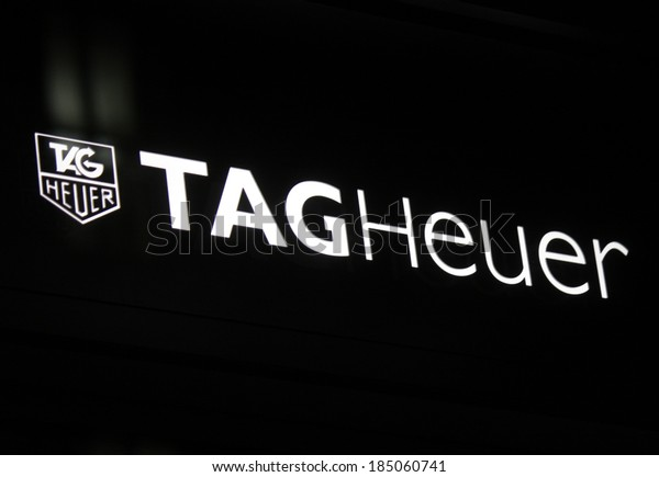"FEBRUARY 26, 2014 - BERLIN: the logo of the brand ""Tag Heuer"", Berlin."