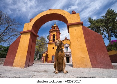 February 26, 2016 Bernal, Queretaro, Mexico: obedient tourist dog sitting under colonial arch in front of church