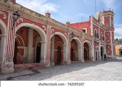 February 26, 2016 Bernal, Queretaro, Mexico: colourful colonial building in the center of the small tourist town