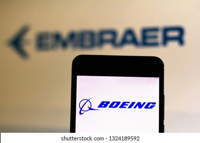 February 26, 2019, Brazil. Logo of the North American company Boeing is displayed on the screen of the mobile device. Boeing and Brazil's Embraer are commercial partners in the field of aviation.
