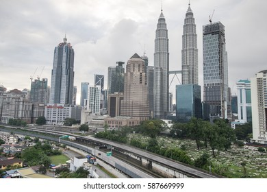 February 26th, 2017 - Kuala Lumpur, Malaysia. A local apartment residence of urban people,in the heart of city of Kuala Lumpur, surroundings with the view of Petronas Twin Towers and other buildings.