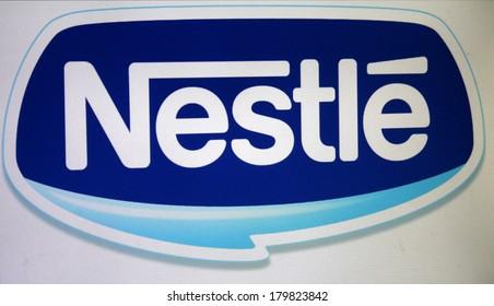 """FEBRUARY 27, 2014 - BERLIN: the logo of the brand """"Nestle""""."""