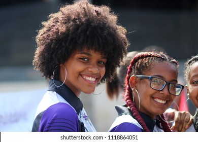 February 27, 2018, Dominican Republic, City of Sosua: portrait of a pretty smiling young women on parade  in honor of the Independence Day of the Dominican Republic