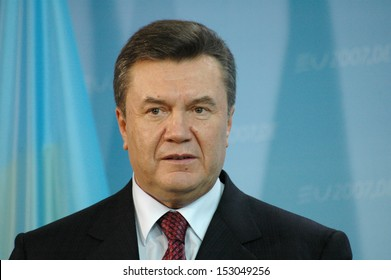FEBRUARY 28, 2007 - BERLIN: Ukranian President Viktor Janukowitsch at a meeting with the German Chancellor in the Chanclery in Berlin.