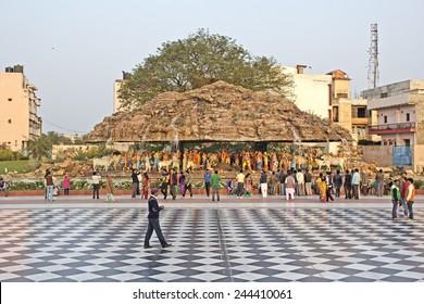FEBRUARY 28, 2014, GITA MANDIR BETWEEN MATHURA AND VRINDAVAN, UTTAR PRADESH, INDIA - Deity of Garuda at the Gita Mandir.
