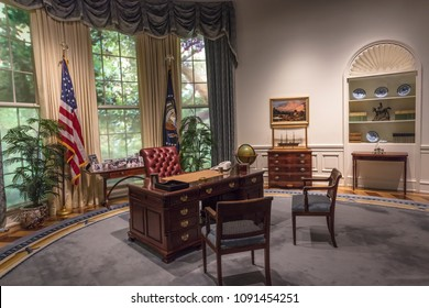FEBRUARY 28, 2018 - COLLEGE STATION TEXAS - George H.W. Bush Presidential Library and Museum shows Oval Office