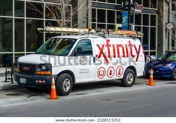 February 28, 2019 Sunnyvale / CA / USA - Comcast Cable / Xfinity service van parked on the side of a street. Comcast is the largest home internet service provider in the United States