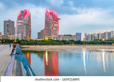 February 28, 2020:Night view of Jinsha Bay, Zhanjiang City, Guangdong Province, China