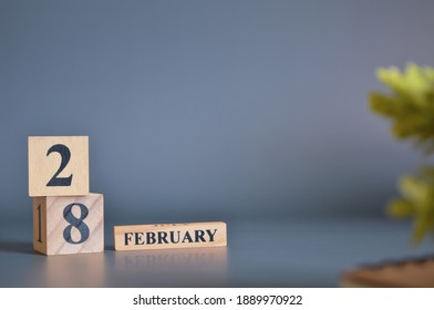 February 28, Cover in the evening time, Date Design with number cube for a background.