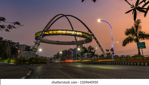 February 28,2019. An exterior view of Biswa Bangla gate or Kolkata Gate at New Town, Kolkata, India. Slow shutter speed is used.