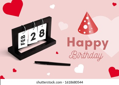 February 28th calendar for anniversary. Day 28 of month. Birthday card message for print.
