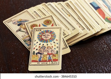 February 29, 2016 Milan, Lombardy, Italy : Set of old pictorial tarot cards