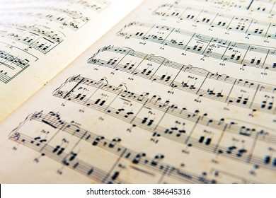 February 29, 2016 Milan, Lombardy, Italy : Old open music score with a printed composition of classical music