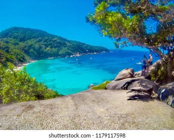 February 3, 2015 - Similan Islands - Thailand - Beautiful Ao Kuerk Bucht Beach in the Similan Islands National Park View from above