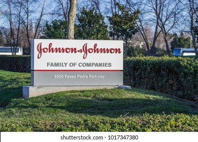February 3, 2018 Fremont / CA / USA - Johnson & Johnson logo in front of one of their office buildings, Fremont, East San Francisco bay area, California