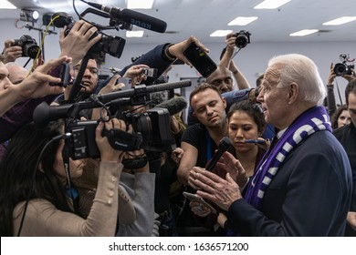 February 4, 2020, Concord, New Hampshire: Democratic candidate Joe Biden is talking to the media after his speech at The International Brotherhood of Electrical Workers Local Union 490.