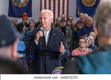February 4, 2020, Concord, New Hampshire: front shot of Joe Biden speaking at The International Brotherhood of Electrical Workers Local Union 490.