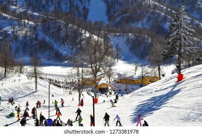 February 5, 2011- Kartepe, Kocaeli, Turkey. People skiing on piste.