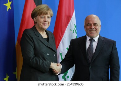 FEBRUARY 5, 2015 - BERLIN: Chancellor Angela Merkel and the new Iraqui Prime Minister Haider al Abadi after a meeting in the Chanclery in Berlin.