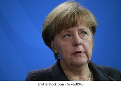 FEBRUARY 5, 2015 - BERLIN: Chancellor Angela Merkel at a press conference after a meeting in the Chanclery in Berlin.