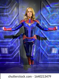 February 5, 2020, Madame Tussauds Wax museum in Blackpool, Lancashire, England. Wax figure of Brie Larson as Captain Marvel. It is an American actress and filmmaker.