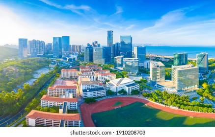 February 5, 2021:Aerial view of urban CBD in Xiamen City, Fujian Province, China