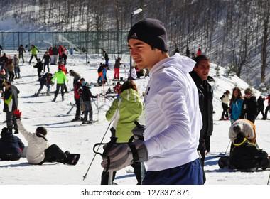 February 5,2011- Kartepe,Kocaeli, Turkey. People skiing on piste.