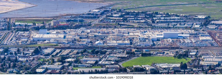 February 6, 2018 Fremont / CA / USA - Aerial view of Tesla Motors Factory situated in Silicon Valley, east San Francisco bay area, California